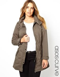 Plus size parka by ASOS CURVE Made from 100% pure cotton Breathable woven fabric Hooded neckline Zip and press stud placket Inner waist drawstring Regular fit