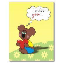 I miss you Sad Teddy Bear Love Postcard