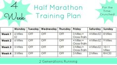 4-Week Half Marathon Training Plan.