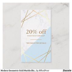 Shop Modern Geometric Gold Marble Blue Coupon Vertical Business Card created by AffordPrint. Personalize it with photos & text or purchase as is! Vertical Business Cards, Business Card Size, Restaurant Menu Design, Gold Light, Light Blue, Gold Marble, Gold Pattern, Design Agency, Wedding Planner