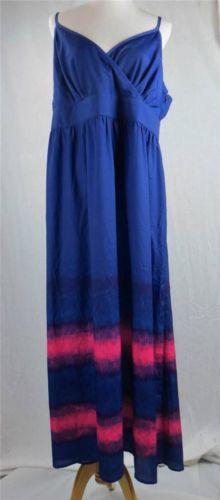 Lane Bryant Dress Maxi Size 20 New Royal Blue Pink Purple Spaghetti Strap Tie DY   eBay