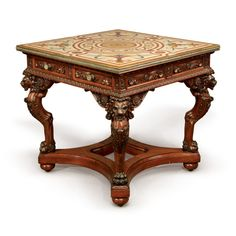 A RENAISSANCE REVIVAL CARVED MAHOGANY AND BRASS-MOUNTED SPECIMEN MARBLE TOP CENTER TABLE, NEW YORK OR PHILADELPHIA, CIRCA 1870 | STYLE: Furniture, Silver, Ceramics | Sotheby's Copper Sheets, Center Table, Marble Top, Philadelphia, Renaissance, Carving, Brass, New York, Ceramics