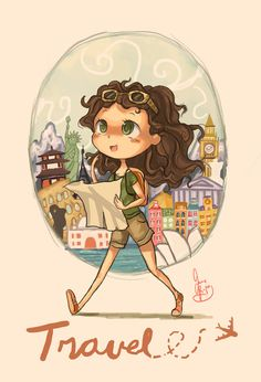 Travel by Chibi-Joey on DeviantArt Travel Illustration, Illustration Girl, Girl Cartoon, Cartoon Art, Cute Images With Quotes, Chibi, Cute Cartoon Wallpapers, Of Wallpaper, Anime Art Girl