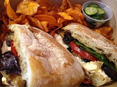 The Larder at Burton Way - Los Angeles, CA, United States. Burrata and eggplant samich to-go
