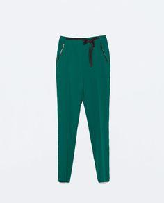 ZARA - MUJER - PANTALON FLUIDO CINTA GROSSGRAIN Zara Mujer Pantalones ff9fb4fc009