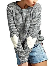 ZXZY Women Heart Pattern Patchwork Long Sleeve Round Neck Knits Sweater Pullover,X-Large,Grey Fall Sweaters, Cute Sweaters, Pullover Sweaters, Sweaters For Women, Knit Sweaters, Casual Sweaters, Knit Cardigan, Cardigans, Neue Outfits