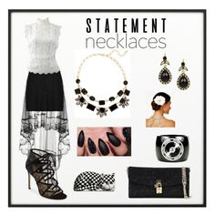 """""""Statement Necklaces:  In Black and White"""" by tammy-gardner on Polyvore featuring By Lassen, Wyatt, Oscar de la Renta, Pour La Victoire, Chanel, Dolce&Gabbana, Josette, Fornasetti and statementnecklaces"""