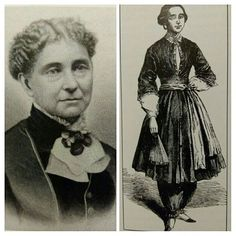 Amelia Jenks Bloomer began a temperance paper in The Lily, with a friend, and promoted her Bloomer costume (right) within its pages. She touted the outfit's sensible, practical comfort. // Images from Claire Price-Groff's, Extraordinary Women Journalists Amelia Bloomer, Just Married Car, Fashion History, Claire, How To Memorize Things, Road Trip, Lily, Costume, Memories