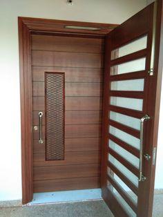 Wooden Glass Door, Wooden Door Design, Wooden Doors, Main Entrance Door Design, Entrance Doors, Garage Doors, Glass Design, Decoration, Outdoor Decor