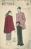 An original ca. 1948 Butterick Pattern 4214.  Misses' Cutaway Coat:  Full, Flare Back - The important cutaway coat with full, flare back is so versatile because it can be worn over daytime and evening clothes.  The coat has a softly rolled collar, loose wide sleeves with a slit and turn-back cuffs.  The full back dips gracefully.