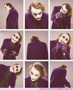 Heath Ledger as the Joker. Such a brilliant actor
