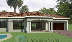 3 Bedroom House Plans South Africa | One Storey House | NethouseplansNethouseplans Small House Floor Plans, My House Plans, House Plans With Photos, Garage House Plans, Modern House Plans, 6 Bedroom House Plans, 4 Bedroom House Designs, Double Storey House Plans, One Storey House