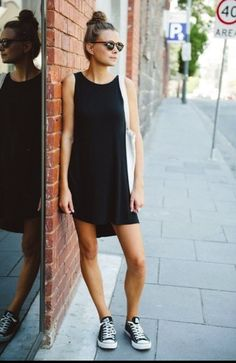 Cute casual black dress with converse