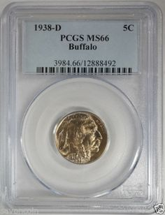 1938 D Buffalo Nickel 5c #PCGS MS66 #New