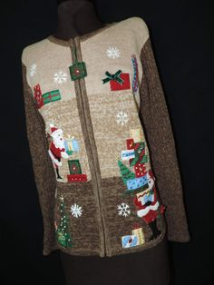 tan Santa brings by cricketcapers Ugly Christmas Sweater, Being Ugly, Bring It On, Santa, Buy And Sell, Handmade, Stuff To Buy, Vintage, Fashion