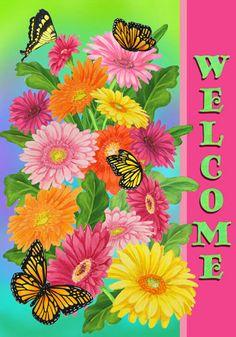 Custom Decor Flag - Gerbera Welcome Decorative Flag at Garden House F at GardenHouseFlags