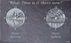 Shop unique designed mammy two time zone clock gift engraved on slate and personalized with landmark pictures from our Irish gift online shopping store