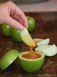 caramel filled apples..individual servings! Appetizer night!