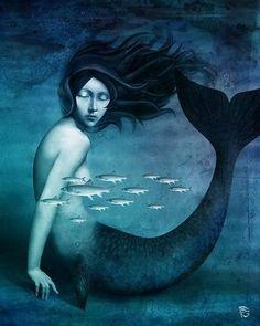 "Photo from album ""Christian Schloe"" on Yandex. Art Journal Prompts, Art Journal Techniques, Mermaid Poster, Mermaid Art, Magic Realism, Realism Art, Wolf, Fish Tales, Pop Surrealism"