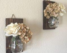 Rustic Wall Sconce.Mason Jar Sconce.Wood Wall by MakariosDecor