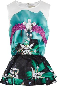 Mary Katrantzou Printed satin peplum top