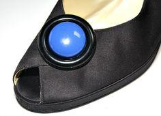 Vintage Blue And Black Shoe Clips  Plastic Round by estatesalegems, $4.75