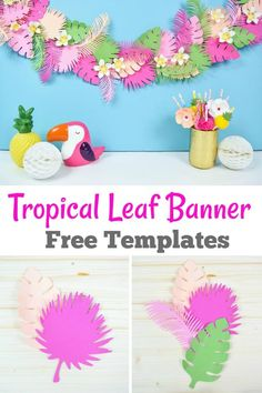 Create your own tropical leaf paper banner using the free templates. This tropical leaf banner is perfect for luau parties and tropical decor. Tropical House Design, Tropical Home Decor, Tropical Party, Tropical Interior, Tropical Furniture, Luau Theme, Hawaiian Theme, Jungle Theme, Flamingo Birthday