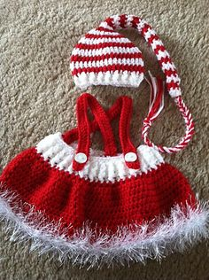 Ravelry: Baby Santa Hat and Skirt pattern by Laurie Artcliff $5:00 for the pattern but so so cute for baby girls first  christmas.