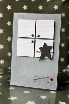 handmade card ... clean lines ... gray base, white squares , black star ... graphic feel ...