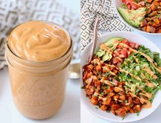 Made with a creamy cashew base, this Vegan Chipotle Sauce is incredibly flavorful and velvety smooth. It's easy to make in 5 minutes and perfect for topping Mexican style bowls and salads! Learn how to make this easy homemade sauce and drizzle it on top of burrito bowls and taco bowls! Vegan Chipotle Sauce Recipe, Taco Bowls, Burrito Bowls, Sweet Potato Burrito, Mexican Quinoa Salad, Creamy Avocado Sauce, Taco Salads, Vegan Sauces, Homemade Sauce