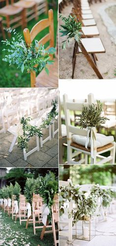 greenery wedding aisle chair arrangements and decor ideas