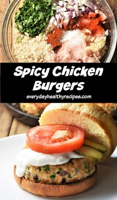 These deliciously succulent spicy chicken burgers are low in fat, quick and easy to make and bursting with flavour! Made using pantry ingredients and ready in under 30 minutes. #chickenburgers #healthyburgers #chickenrecipes #chickendinner