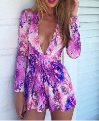 Sexy Plunging Neckline Floral Print Long Sleeve Romper For Women