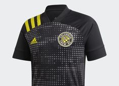 "Columbus Crew SC unveiled its new Away jersey, the ""New Heritage Kit"", which features a black jersey, all-black shorts and black socks with horizontal Columbus Crew, Soccer Outfits, Major League Soccer, Black Socks, Adidas, Yellow Stripes, Football, Kit, Shorts"