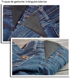 Como transformar uma calça jeans normal em jeans para gestante! | Maternidade-blog Sewing Hacks, Sewing Tutorials, Altering Clothes, Recycled Fashion, Clothing Hacks, Denim Outfit, Sewing Clothes, Refashion, Sewing Techniques