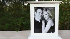 Kelly Marie Collections is proud to offer The Perfect Card Box®, our patented photo holding, locking wedding card box that rotates 360° on a base so your wedding guests can view your pictures. #Locking_Wedding_Card_Box