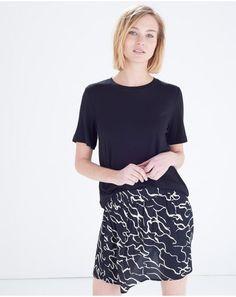 Monochrome Crepe Mini Skirt