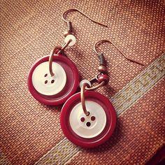 Red Velvet Dangles - Vintage button earrings by thelibraryfaerie, $5.99