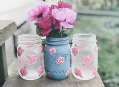 Spring has sprung! Decorate your home with these beautiful handpainted and distressed pint mason jars!