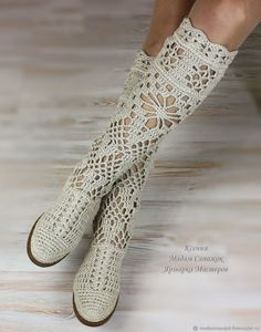 Boots women's 'Pelagia'. Online shopping on My Livemaster. Beige, crochet boots Source by Crochet Shoes Pattern, Crochet Boots, Shoe Pattern, Crochet Slippers, Crochet Clutch, Narrow Shoes, Summer Boots, Knit Shoes, Embroidered Clothes