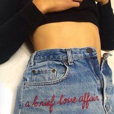 A Brief Love Affair | Embroidered Denim | Denim Embroidery | Red Text Embroidery | Embroidered Quote | Jeans | Denim | Levi 501s