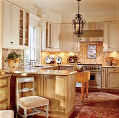Second Verse, Same As The First   Traditional Home - Oh my! I'm in love with this kitchen,  small, functional and gorgeous detail <3