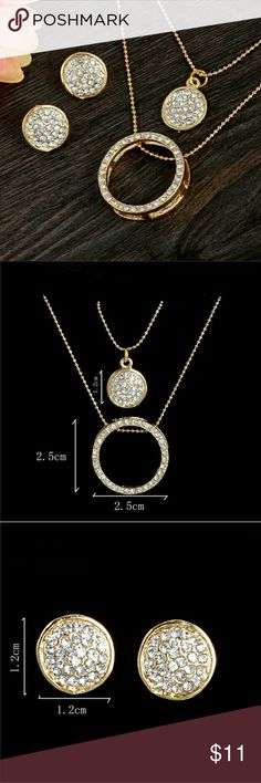 Necklace and earrings 18 k Gold filled Austrian Crystal  Circles Jewelry Set Pendant 48 cm length necklace and stud earrings. (Color Gold)  Stunning set really catches and reflects light. Beautiful Set you can wear it everyday be dressed up or down. Jewelry Necklaces