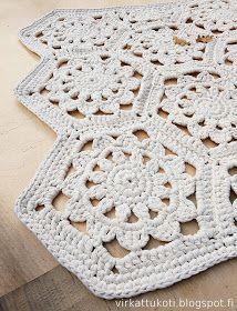 virkattukoti: Kuusikulmiomatto Fun Projects, Blanket, Knitting, Diy, Crochet Rugs, Crochet Carpet, Farmhouse Rugs, Unique Crochet, Tapis Crochet