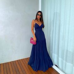 New Fashion Gown, Look Fashion, Fashion Dresses, Navy Blue Prom Dresses, A Line Prom Dresses, Evening Dresses, Casual Dresses, Girls Dresses, Formal Dresses