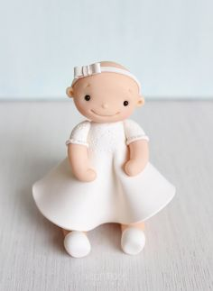 Christening, Baptism, Birthday Baby Girl polymer clay cake topper & keepsake by Heartmade Cottage