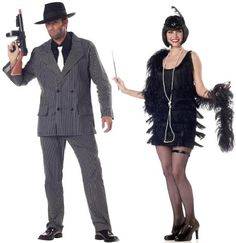Halloween, Halloween Costumes Couples, Halloween Costumes diy, -Flapper Dress & Gangster--