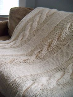 SALE Chunky Cable Knit Blanket by YellowFuzzyAndGreen on Etsy