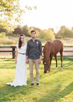 Simply Elegant Group Bohemian Prairie Wedding Inspiration. Boho bride, outdoor, prairie, farm, horse, headband, poncho, native, field