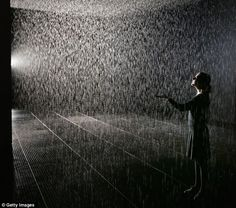 Despite its soggy appearance, Rain Room by art collective Random International purports to keep you dry. Created as an installation at the Barbican in London, its motion sensors detect the position of visitors' bodies, ensuring that they never get wet.